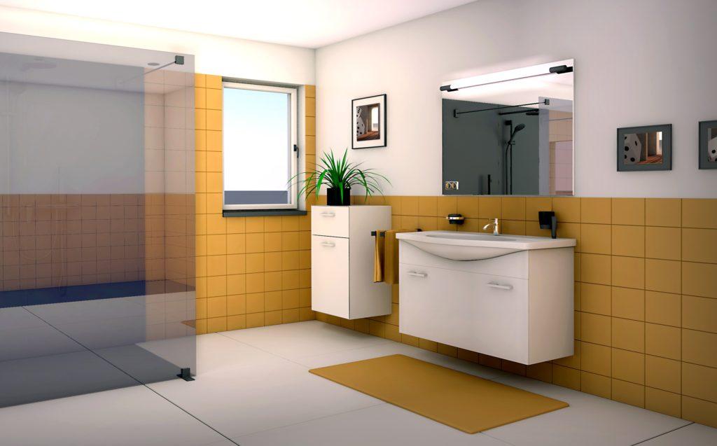 colored, bathroom, decor, interior