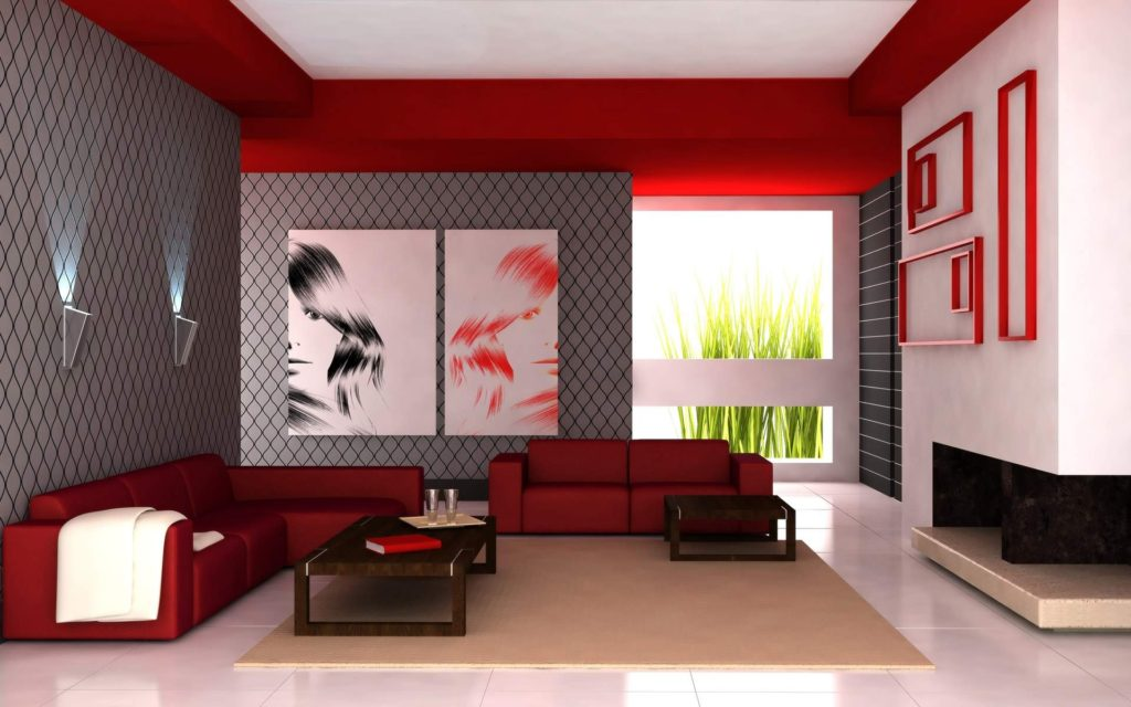 red colors in living room