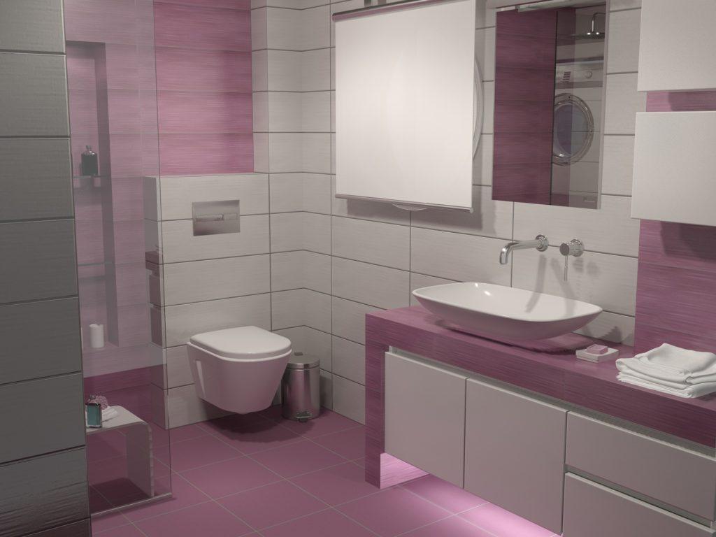 pink color on bathroom