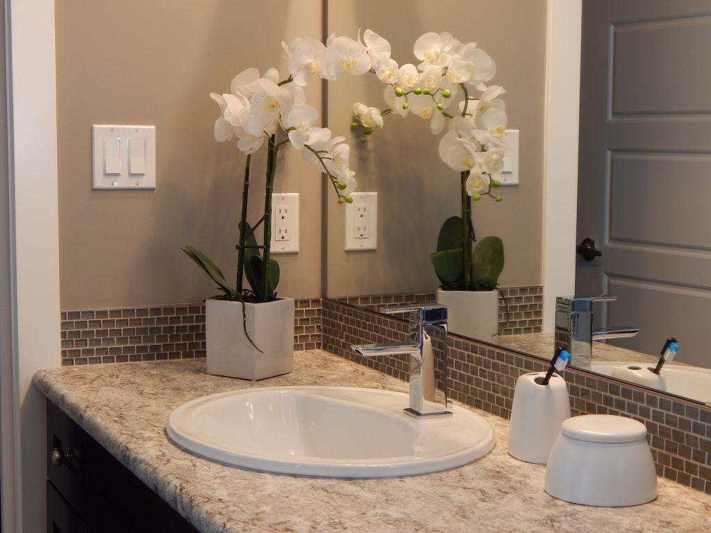 bathroom faucet, tooth-brash, sink, mirror, counter