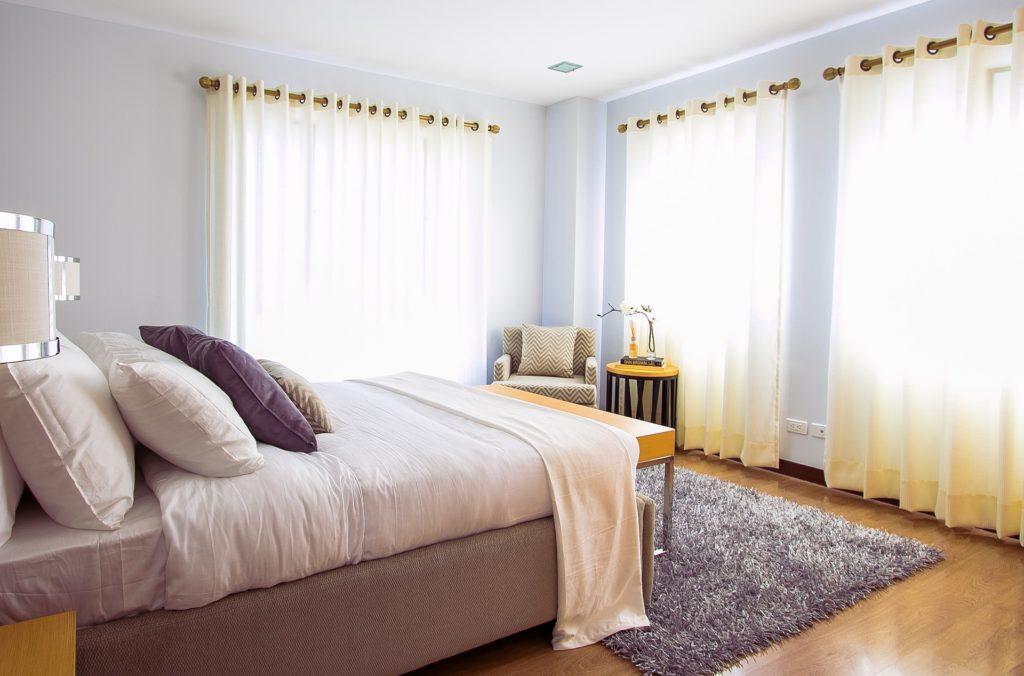 carpet, curtains, pillow inside bedroom