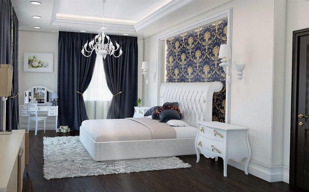 bed with wonderful bedsheet inside bedroom