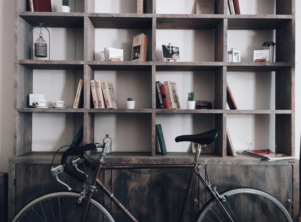 Tidy shelves at home with books