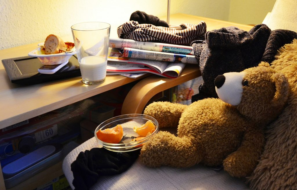 A youthful cluttered room