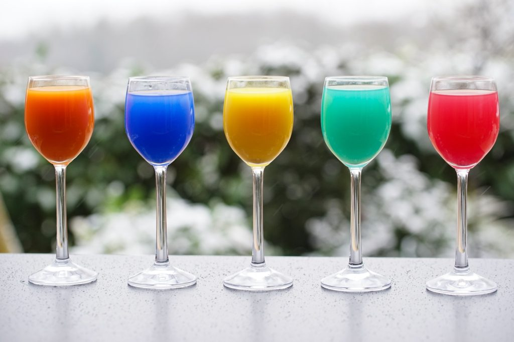 Orange, Blue, Yellow, Green and Red Drinks.