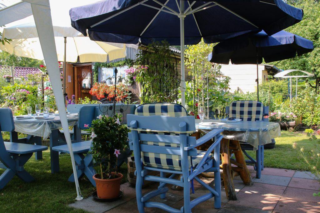 Backyard decor with summer umbrellas