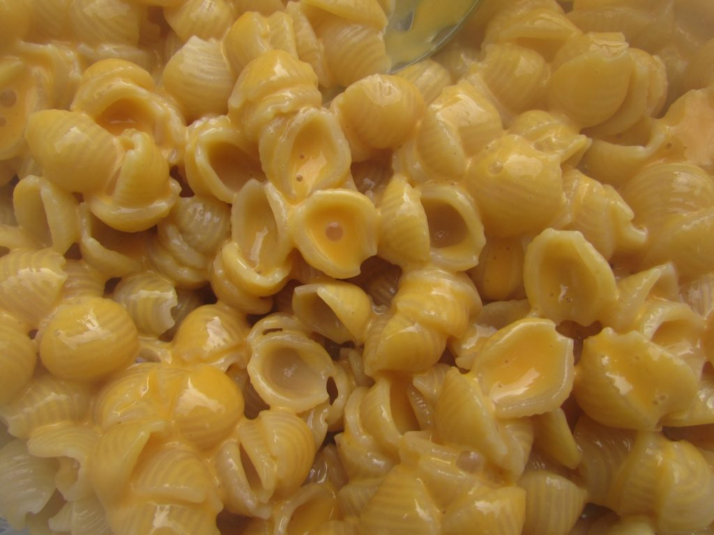 Cooked macaroni and cheese