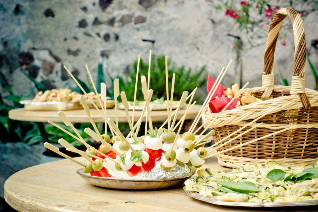 Food on a table for summer entertaining guests