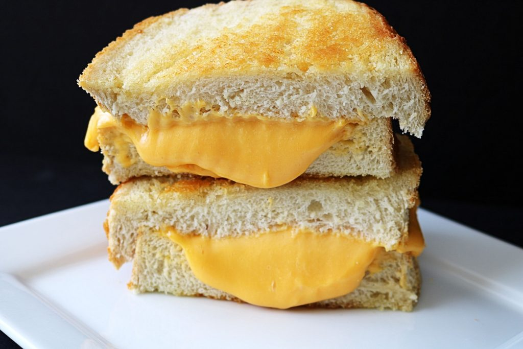 Cheese melting inside the bread.