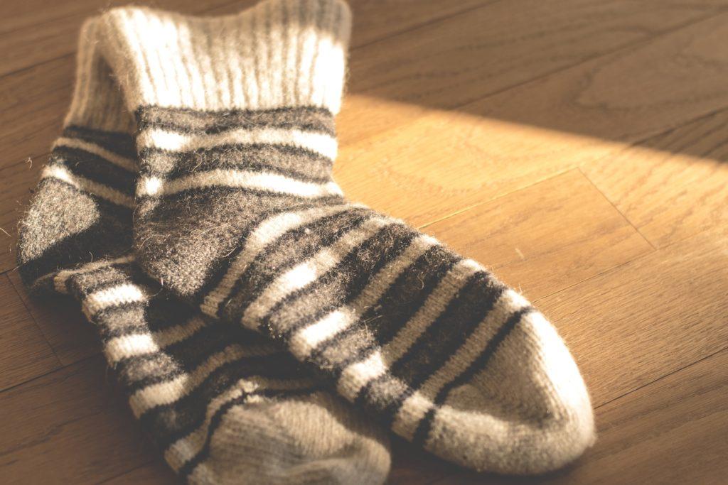 White-Brown pair of socks.