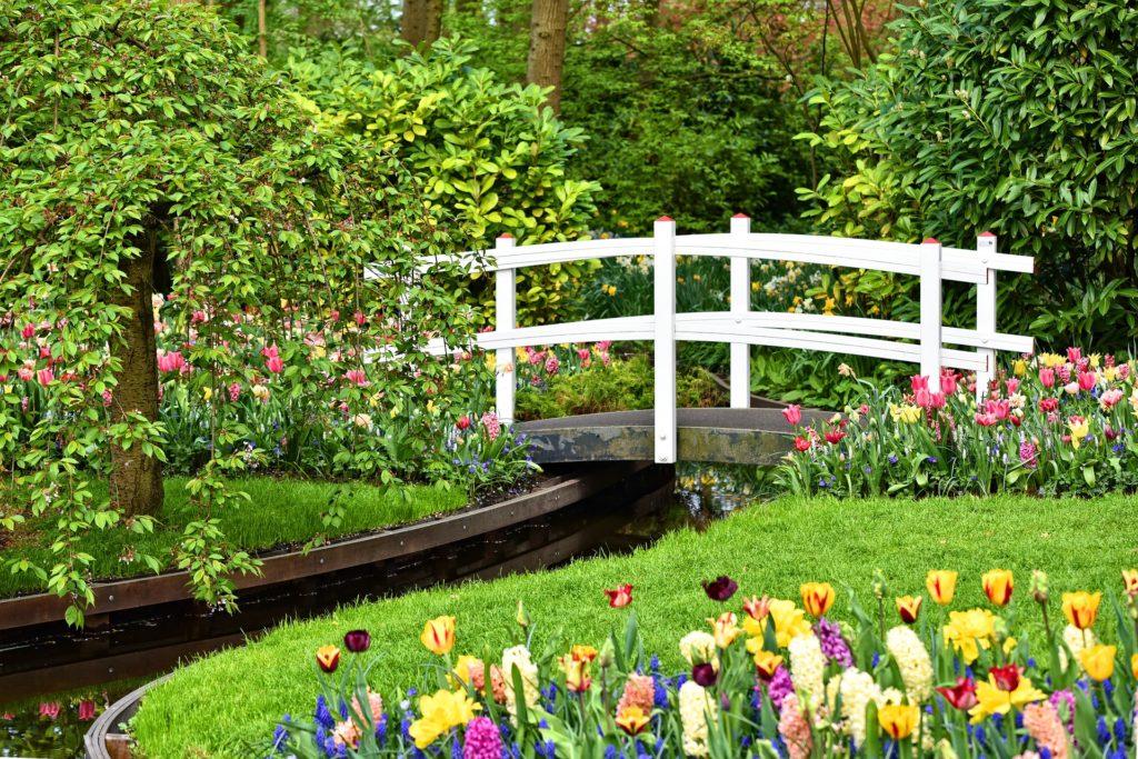 Garden, mulch, Wooden Bridge, White Bridge,
